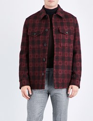 Brioni Checked Wool And Cashmere Blend Jacket Red