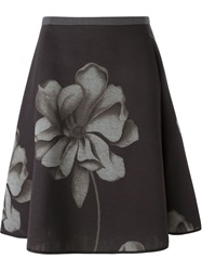 Odeeh Flower Print A Line Skirt Grey