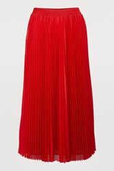Red Valentino Long Pleated Skirt Deep Red