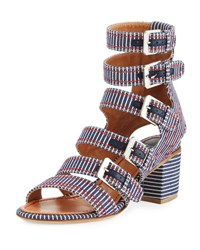 Laurence Dacade Nora Striped Canvas Buckle Strap Sandal Navy
