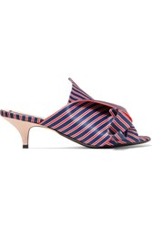 N 21 No. Knotted Striped Satin Mules Blue