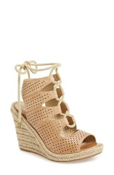 Johnston And Murphy Women's Mandy Perforated Wedge Sandal Tan Leather