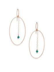 Ginette_Ny Fallen Sky Turquoise And 18K Rose Gold Ellipse Drop Earrings Rose Gold Turquoise