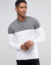 Asos Knitted Colour Block Polo In Muscle Fit Blk Wht Twist Wht White