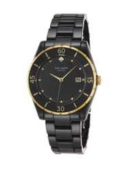 Kate Spade Seaport Grand Black Mother Of Pearl Goldtone Stainless Steel And Ceramic Bracelet Watch Black Gold