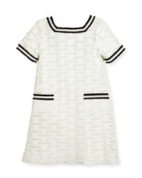 Zoe Short Sleeve Lattice Shift Dress White Size 7 16