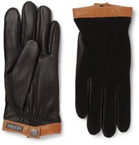 Hestra Tricot Panelled Leather Gloves Black