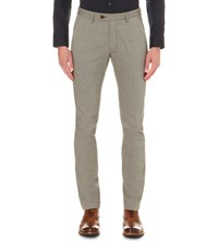 Ted Baker Regular Fit Tapered Cotton Trousers Natural