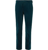 Paul Smith Teal Slim Fit Cotton And Cashmere Blend Corduroy Suit Trousers Blue