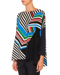 Piazza Sempione Diagonal Swirl Striped Ruffled Tunic
