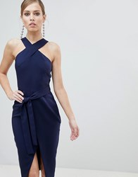 Lavish Alice Cross Front Midi Dress With Wrap Skirt And Tie Waist Navy