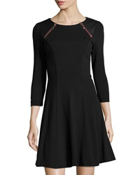 P. Luca 3 4 Sleeve Ponte Fit And Flare Dress Black