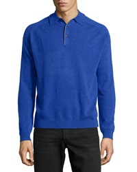 Neiman Marcus Cashmere Three Button Polo Sweater Royal