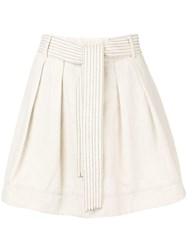 Emporio Armani Pleated Mini Skirt Neutrals
