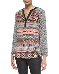 Tolani Jill Long Sleeve Printed Tunic Coral