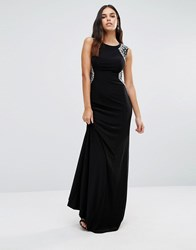 Forever Unique Rosetta Maxi Dress With Embellished Shoulders Black