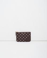 Comme Des Garcons Small Zip Pouch Brown Polka Dots