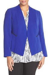 Plus Size Women's Halogen Zip Pocket Open Jacket Blue Mazarine