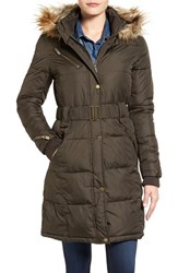 Rachel Roy Women's Faux Fur Trim Quilted Coat