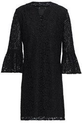 Anna Sui Fluted Corded Lace Mini Dress Black