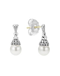 Lagos Sterling Silver Luna Cultured Freshwater Pearl Drop Earrings White Silver