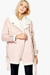Boohoo Suedette Aviator Jacket Blush