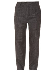 Oliver Spencer Cotton And Linen Blend Straight Leg Trousers Grey