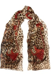Dolce And Gabbana Printed Silk Chiffon Scarf Red