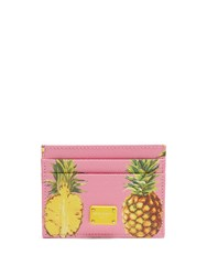 Dolce And Gabbana Pineapple Print Leather Cardholder Pink Multi