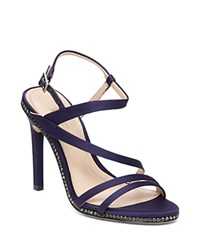 Imagine Vince Camuto Gian Satin Crystal Trim High Heel Sandals Navy