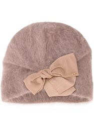 Ca4la Bow Detail Hat Nude And Neutrals
