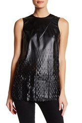 Opening Ceremony Faux Leather Laser Cut Blouse Black