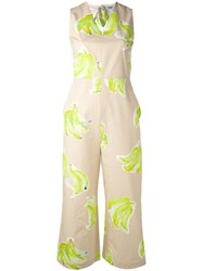 Msgm Banana Print Jumpsuit Women Cotton 42 Nude Neutrals