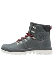 Palladium Pallabrousse Laceup Boots Castlerock Red Silver Dark Grey