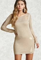 Forever 21 Metallic Knit Sweater Dress Rose Gold