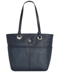 Giani Bernini Pebble Leather Large Tote Created For Macy's Navy