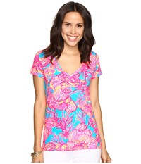Lilly Pulitzer Michele Top Sparkling Blue Fan Tastic Women's T Shirt Pink