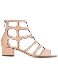 Jimmy Choo Cut Out Gladiator Sandals Nude Neutrals