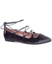 Chinese Laundry Endless Summer Velvet Lace Up Flats Women's Shoes Smoke