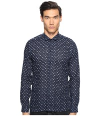 The Kooples Hippie Flowers Button Up Navy Men's Clothing
