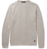 Loro Piana Slim Fit Cable Knit Linen And Silk Blend Sweater Sand