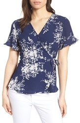 Bobeau Short Sleeve Crepe Faux Wrap Top Navy White Floral