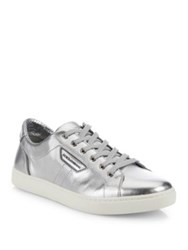 Dolce And Gabbana London Metallic Low Top Sneakers Silver