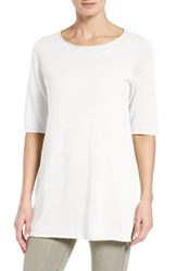 Eileen Fisher Women's Organic Linen And Cotton Slub Tee White