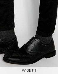 Asos Wide Fit Oxford Shoes In Black Leather Black