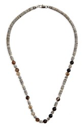 Link Up Men's Shell Bead Necklace Grey Black