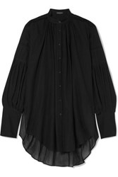 Ann Demeulemeester Oversized Cotton And Cashmere Blend Voile Blouse Black