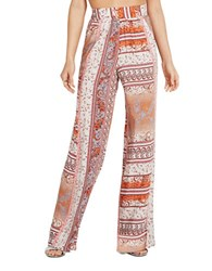 Bcbgeneration Paisley Floral Palazzo Pants Deep Red Multi