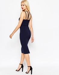 Asos Multi Strap Crop Top Pencil Midi Dress Navy