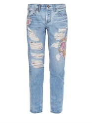 Tortoise Jeans Savanna Floral Embroidered Ripped Jeans